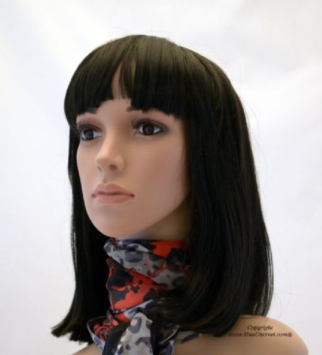 Longer Length Ladies Bob Full Head Wig in Natural Black